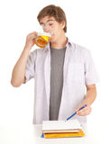 Young student with mug of beer Stock Image