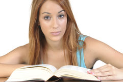 Young student with an open book on white background Royalty Free Stock Photos