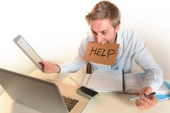 Young Student Overwhelmed asking for Help. Young Student or Businessman Stressed and Overwhelmed asking for Help on clear Background Stock Photos
