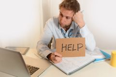 Young Student Overwhelmed asking for Help Stock Photo