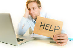 Young Student Overwhelmed asking for Help. Young Student Stressed and Overwhelmed before an Exam asking for Help on clear Background Royalty Free Stock Photography