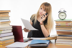 Young student on phone discussing the executed course project Royalty Free Stock Image