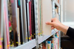 Young student picking a book from the shelf in the library. Preparing for exams, young man searching for or choosing a book in the. Public library in university royalty free stock photo