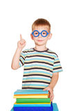 Young  student pointing finger upward Royalty Free Stock Photos