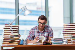 The young student preparing for college exams Stock Image