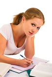 A young student preparing for the exam. A young pretty student preparing for the exam royalty free stock photo