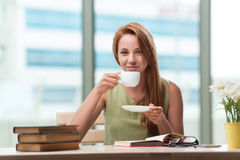 The young student preparing for exams drinking tea Royalty Free Stock Image
