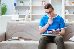 The young student preparing for exams studying at home on a sofa Royalty Free Stock Images