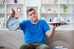 The young student preparing for exams studying at home on a sofa Royalty Free Stock Photo