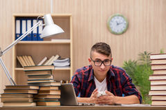 The young student preparing for school exams. Young student preparing for school exams Stock Photography