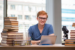 The young student preparing for school exams. Young student preparing for school exams Stock Image