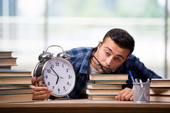 The young student preparing for school exams. Young student preparing for school exams Royalty Free Stock Photography