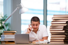 The young student preparing for school exams Stock Photography