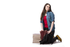 The young student preparing for school exams Royalty Free Stock Images
