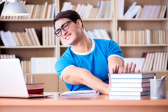 The young student preparing for school exams Stock Photo