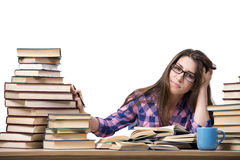 The young student preparing to the college exams isolated on white Stock Images