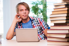 The young student preparing for university exams. Young student preparing for university exams Royalty Free Stock Photo