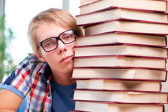 The young student preparing for university exams Royalty Free Stock Image