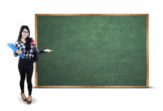 Young student presenting empty copyspace Stock Image