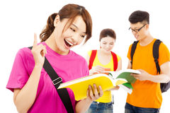 Young student reading a  book  and think out ideas Royalty Free Stock Image