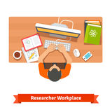 Young student or scientist studying at his home royalty free illustration