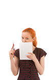 Young student or secretary taking notes Royalty Free Stock Photography