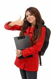 Young student showing ok sign isolated on white Stock Images