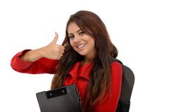 Young student showing ok sign isolated on white Stock Photography