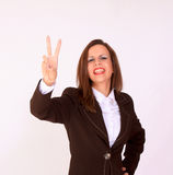 Young student showing V sign Royalty Free Stock Photography