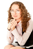 Young student sitting with folder Royalty Free Stock Photos