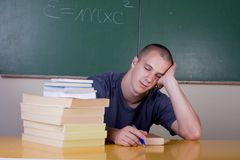 Young student sleeping. At school Stock Photo