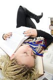 The young student sleeps on books Stock Photo