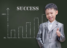 Young student smiling with showing thumb nail. Young Asian student smiling with showing thumb nail in front of chalkboard Stock Image