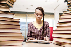 The young student with stack of books Royalty Free Stock Photography