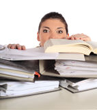 Young student stressed by her documents Royalty Free Stock Image