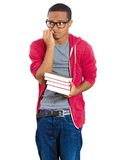 Young student stressed holding books Royalty Free Stock Images