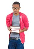 Young student stressed holding books Stock Photos