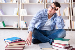 The young student studying with books. Young student studying with books Stock Photography