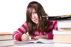 Young student studying for exams Stock Photos