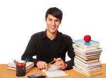 Young student studying  isolated over white Stock Image