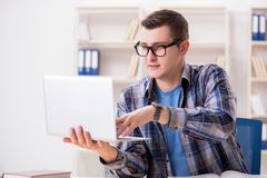 The young student studying over internet in telelearning concept Royalty Free Stock Photo