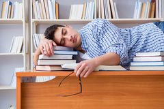 The young student taking break and falling asleep. Young student taking break and falling asleep Royalty Free Stock Photo