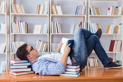The young student taking break and falling asleep Stock Photo