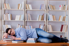 The young student taking break and falling asleep Royalty Free Stock Images
