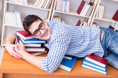 The young student taking break and falling asleep. Young student taking break and falling asleep Royalty Free Stock Photography