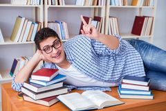 The young student taking break and falling asleep. Young student taking break and falling asleep Royalty Free Stock Images