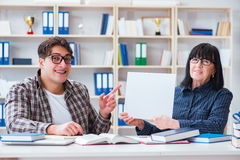 The young student and teacher during tutoring lesson Stock Photos