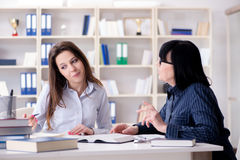 The young student and teacher during tutoring lesson Stock Images