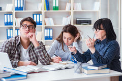 The young student and teacher during tutoring lesson Royalty Free Stock Photography