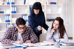 The young student and teacher during tutoring lesson Stock Photography